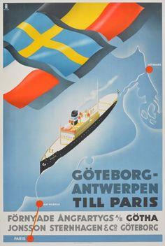 Poster: Göteborg - Antwerpen - Steam Ship Belgia  Artist: Hans Erik Olsén (1911-1983)