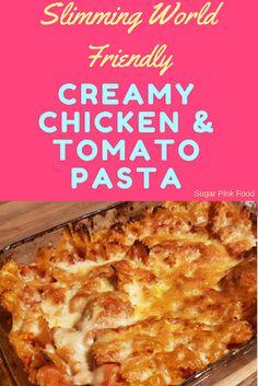 Slimming World Friendly Recipe: Creamy Chicken, Bacon and Tomato Pasta Bake Abnehmen World Friendly Rezept: Cremiges Hähnchen, Speck und Tomaten Nudelauflauf Chicken And Bacon Pasta Bake, Tomato Pasta Bake, Creamy Pasta Bake, Healthy Pasta Bake, Creamy Tomato Pasta, Healthy Baking, Creamy Sauce, Healthy Recipes, Slimming World Chicken Pasta
