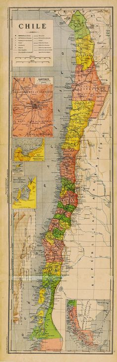 Antique Map of Chile 1899 by CarambasVintage on Etsy Mais Vintage Maps, Antique Maps, Ancient Maps, Juan Fernandez, Map Globe, World Geography, Old Maps, Map Design, Travel Maps
