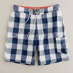 Shop the 9 long board short in giant gingham at J.Crew and see the entire selection of Men's Swimwear. Find Men's clothing & accessories at J. J Crew Men, Beachwear, Swimwear, Summer Of Love, Summer Fun, Well Dressed Men, Swim Trunks, Swim Shorts, Sport Outfits