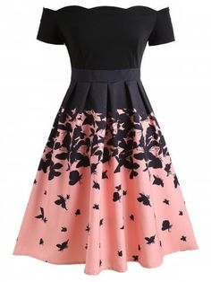 Vintage Dresses Butterflies Printed Off Shoulder Retro Dress - BLACK Cute Prom Dresses, Dance Dresses, Pretty Dresses, Beautiful Dresses, Short Dresses, Cheap Dresses, Elegant Dresses, Sexy Dresses, Summer Dresses