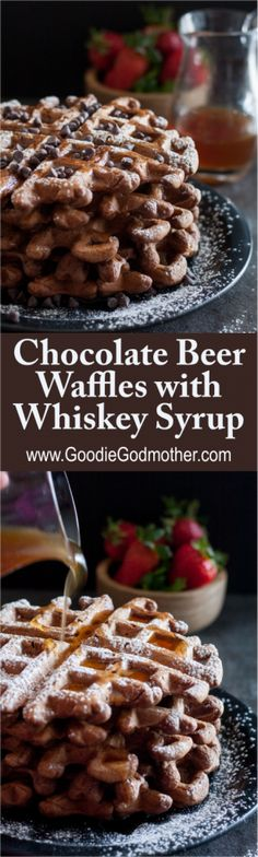 Beer for brunch? Delicious if it's baked into these chocolate stout beer waffles with whiskey syrup! Recipe on GoodieGodmother.com