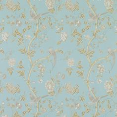 Summer Palace Powder Blue Floral Wallpaper 1