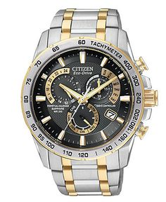 Citizen Watch, Men's Chronograph Eco-Drive Two Tone Stainless Steel Bracelet 43mm AT4004-52E - Men's Watches - Jewelry & Watches - Macy's