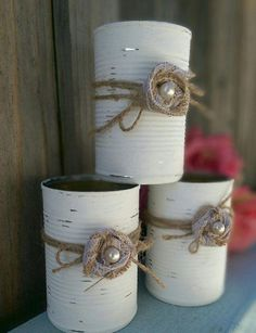 Shabby Chic Painted White Tin Can Jute Paper Flower Pearl Rustic Country Wedding… Rustic Table Centerpieces, Country Wedding Centerpieces, Shower Centerpieces, Burlap Wedding Decorations, Shabby Chic Bedrooms, Shabby Chic Homes, Shabby Chic Furniture, Rustic Furniture, Shabby Chic Wedding Decor