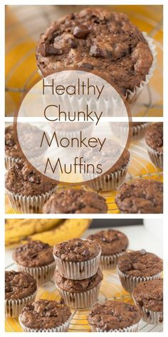 Healthy Chunky Monkey Muffins made with greek yogurt, bananas and dark chocolate chips. Your kid will love these yummy muffins!