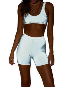 Combinaison de Sport r/éfl/échissante pour Femmes Couture Surv/êtement de Travail d/écontract/é r/éfl/échissant Zipper Crop Tops /& Trouser Luminous 2 PCS