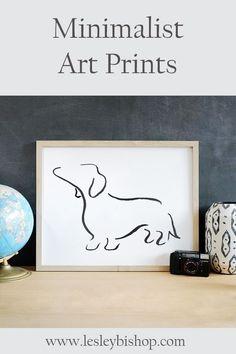Daschund Minimalist Art Print. Great gift for dog lovers. Available in a range of sizes, framed and unframed. -- Daschund Line Art, Daschund Gift, Wiener Dog Art Print, Sausage Dog, Minimalist Art, Modern Line Drawing --#daschund #sausagedog #weinerdog #doglovergift #daschundart