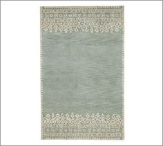 Desa Bordered Wool Rug, 5 x 8', Blue