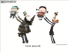Political Cartoons by Michael Ramirez...(both putting babies/children in harm's way to get people to support their cause)