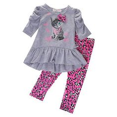 2016 Spring Autumn Kids Baby Girls Cat Printed T-shirt Tops Dress+Leopard Pants 2PCS Outfits Set #Affiliate
