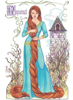 Rapunzel from: Fairy Tale Princesses Paper Dolls By: Eileen Rudisill Miller. Welcome to Dover Publications Paper Doll Craft, Doll Crafts, Paper Toys, Paper Crafts, Disney Paper Dolls, Storybook Characters, Paper People, Paper Dolls Printable, Vintage Paper Dolls