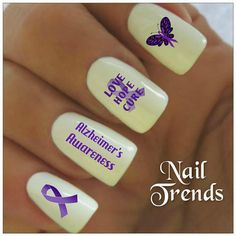 Nail Decal. Alzheimer's Awareness  20 Vinyl Stickers by NailTrends, $2.65