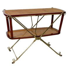 A Campaign Mahogany and Brass Tea Trolley or Wagon