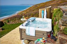 Not impressed by the shower? Are you more a bathtub kind of person? Head out to the lower deck, where you'll find a steaming hot tub. Yes, that's right: Seaglass features not just one but two decks with spectacular bay views.