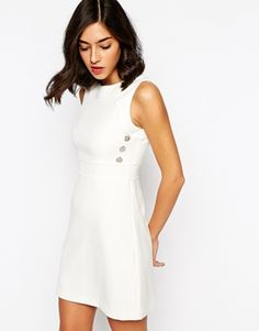 Warehouse 1960s Style Shift Dress - White