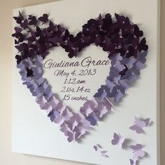 Exclusively ours, 24 x 24 Butterfly Birth Announcement Keepsake Wall Art made especially for you by Butterfly and Baby. Fluttering butterflies land from flight in this ombre design. Hand painted gallery wrapped canvas with your baby's name, birthday, birth weight, length and time of