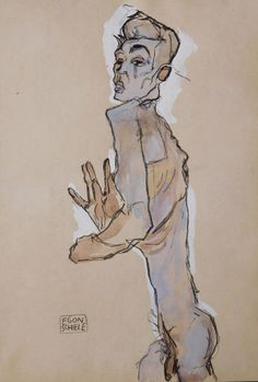 View Self Portrait Study Attributed to Egon Schiele; Charcoal, gouache and watercolor on paper; x 8 in. Access more artwork lots and estimated & realized auction prices on MutualArt. Life Drawing, Figure Drawing, Drawing Sketches, Painting & Drawing, Art Drawings, Drawings Of Men, Drawing Hands, Gouache, Egon Schiele Drawings