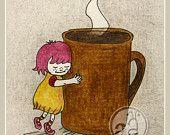 Little Coffee Lover - art print 5x7 post card - cute illustration