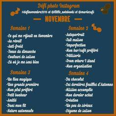 Défi photo de Novembre ! 4 semaines - 7 thèmes par semaine à poster dans n'importe quel ordre - 1 thème par photo! Partagez, invitez vos amis et rejoignez nous sur Instagram ! @little_notebooks et @mariecafs. On vous attend ! :)