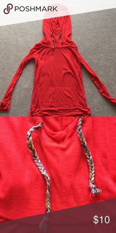 Cowl Neck long sleeve In good condition with small amount of piling throughout. Beautiful red color. Fun multi colored draw strings for the good. Light weight long sleeves! Great with a camisole underneath. Maurices Tops Tees - Long Sleeve