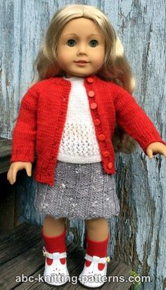 ABC Knitting Patterns - American Girl Doll Winter Nights Cardigan