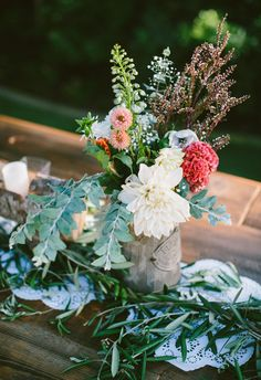 Lacy and leafy table runner, assorted florals, rustic-sweet centerpieces // Jes Workman
