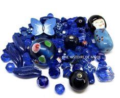 Perles bleues - Perles en vrac - Perles en verre - Diy