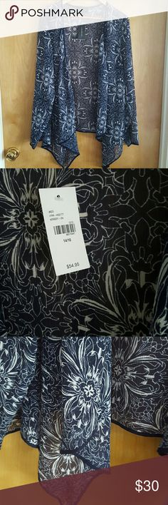 Blue and white floral kimono NWT Lane Bryant sheer kimono. Long sleeve with navy blue hem. Flowy and flattering Lane Bryant Tops