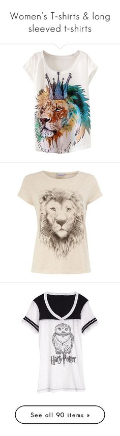 """Women's T-shirts & long sleeved t-shirts"" by errecsak on Polyvore featuring tops, t-shirts, white, white crew neck t shirt, lion tee, crew neck tee, white short sleeve t shirt, crew t shirts, shirts and blusas"