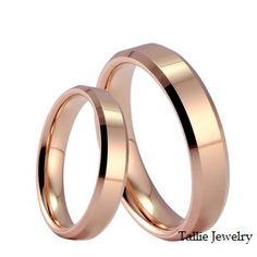 His and Hers Matching 18K Rose Gold Wedding Bands Rings 5mm and 4mm Wide  Free Engraving  New on Etsy, $915.00