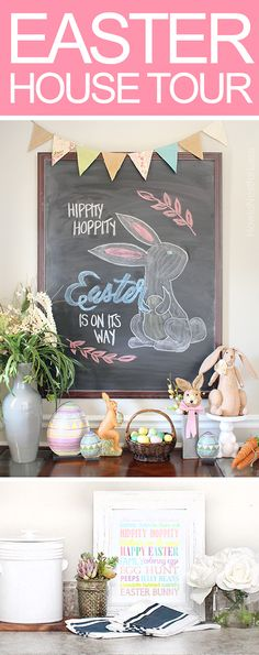 Easter house tour 2016. Kitchen, family room and foyer decorations! LOVE all of these spaces!!