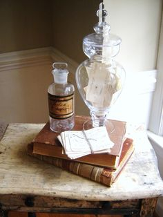 Apothecary jar centerpiece!  Very fun
