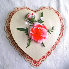 Reserved for Elizabeth, Valentine Box, Candy Container, Vintage Box, Heart Box, Heart, Red, Flowers, Romantic, 1974