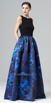 Sleeveless Printed Satin Ball Gowns by Aidan Mattox