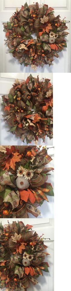 Wreaths 16498: 23 Fall Harvest Owl Burlap-Deco Mesh Wreath Front Door Wall Decor -> BUY IT NOW ONLY: $48 on eBay!