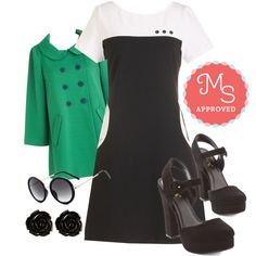In this outfit: Land of Mod Dress, Bea and Dot Frolic with Me Coat, The Music Seen Sunglasses in Black, Retro Rosie Earrings in Black, Strut a Delight Heel in Black #retro #vintage #1960s #mod #dresses #minimalist #ModCloth #ModStylist #ootd #fashion