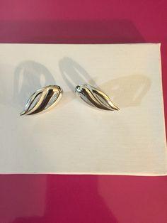 Silver Tone Leaf Earrings by Monet