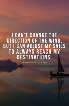 I can't change the direction of the wind, but I can adjust my sails to always reach my destinations. #inspiration #motivation #inspirationalquotes #quoteoftheday #NaturalFertilityInfo