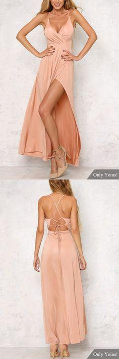Strappy Back Deep Side Slit Backless Cami Maxi Dress