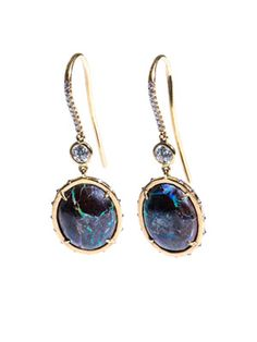 Opal, pink-diamond and gold earrings