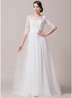A-Line/Princess Scoop Neck Court Train Tulle Lace Wedding Dress