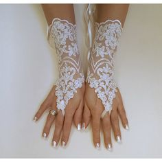 ivory Wedding Gloves, ivory lace gloves, Fingerless Glove, ivory... ($30) ❤ liked on Polyvore featuring accessories, gloves, white winter gloves, lace gloves, fingerless bridal gloves, fingerless gloves and ivory lace gloves