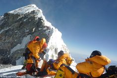 Chillin' at the foot of Everest's Hillary Step at 28,000+ feet. Look at the line of climbers heading for the summit.