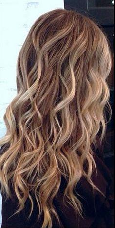 Blonde highlights brown hair bilayage