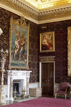 period interior - Holkham Hall, Norfolk, UK. Constructed 1734 to 1764 in the Palladian style for Thomas Coke, 1st Earl of Leicester by architect William Kent.