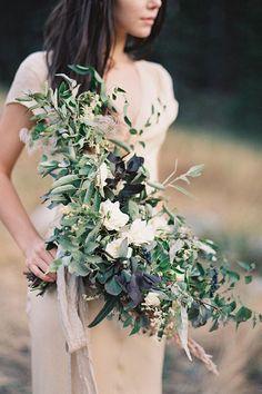 Organic Mountain Wedding earthy greenery bridal floral bouquet inspiration