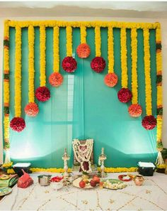 Decorations Decoration Ideas Wedding Decorations is part of Housewarming decorations - Desi Wedding Decor, Wedding Stage Decorations, Backdrop Decorations, Baby Shower Decorations, Flower Decorations, Garland Wedding, Umbrella Decorations, Diwali Decorations At Home, Backdrop Wedding