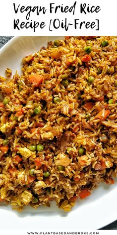 recipes Vegan Fried Rice Recipe (Oil-Free) This vegan fried rice recipe is oil-free, easy, and cheap to make. If you're Plant-Based and Broke like me, you're going to love this recipe. Vegan Recipes Plant Based, Tasty Vegetarian Recipes, Vegan Dinner Recipes, Healthy Recipes, Whole Food Recipes, Dinner Healthy, Rice Vegan Recipes, Plant Based Dinner Recipes, Cheap Recipes