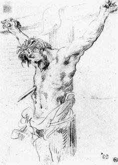 Christ on the Cross by DELACROIX, Eugene #art
